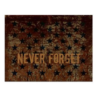 nunca olvide el diseño aherrumbrado de las estrell tarjetas postales