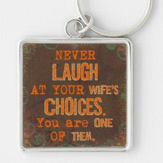 Nunca ríase del llavero divertido de las opciones