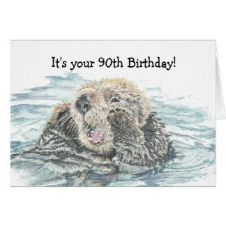 Nutria emocionada linda del 90.o cumpleaños feliz  tarjeta de felicitación