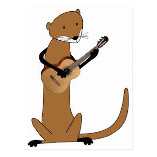 Nutria que toca la guitarra postal