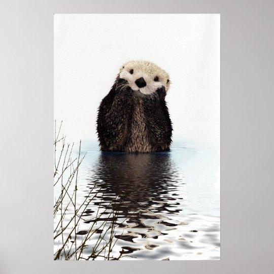 Nutria sonriente adorable en el lago póster