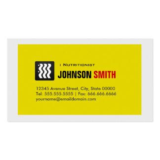 Nutricionista el dietético - blanco amarillo tarjetas de visita