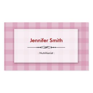 Nutricionista el dietético - cuadrados rosados tarjetas de visita