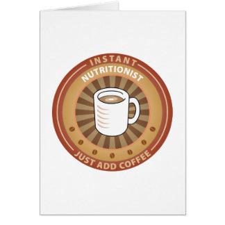 Nutricionista inmediato tarjeta de felicitación