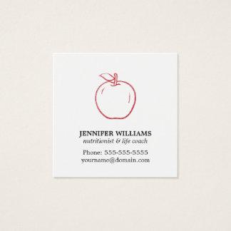 Nutricionista rojo fresco elegante mínimo de Apple Tarjeta De Visita Cuadrada