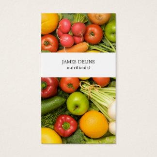 Nutricionista único de las verduras tarjeta de negocios
