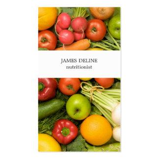 Nutricionista único de las verduras tarjetas de visita