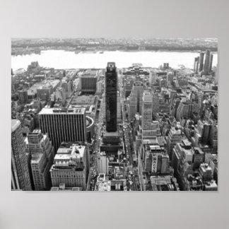 NYC blanco y negro Photoraph Póster