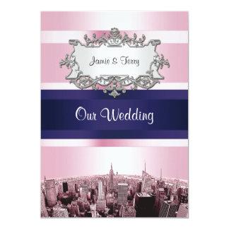 NYC grabó al agua fuerte casarse rosado de BG Blue Invitación 12,7 X 17,8 Cm