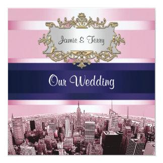 NYC grabó al agua fuerte casarse rosado de BG Blue Invitación 13,3 Cm X 13,3cm