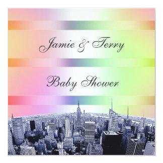 NYC grabó al agua fuerte el arco iris en colores Invitación 13,3 Cm X 13,3cm