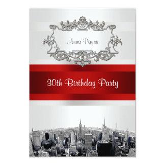 NYC grabó al agua fuerte el blanco BG, cumpleaños Invitación 12,7 X 17,8 Cm