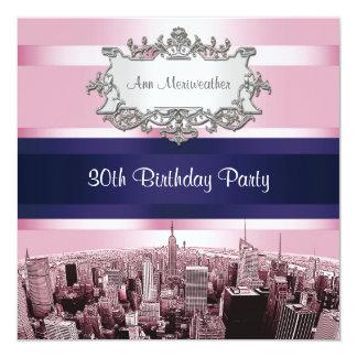 NYC grabó al agua fuerte el horizonte 2 BG rosada, Invitación 13,3 Cm X 13,3cm