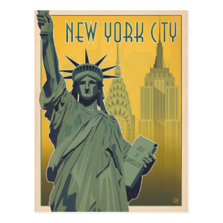 NYC - Señora Liberty - amarillo Postal
