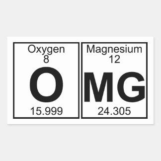 O-MG (omg) - por completo Pegatina Rectangular