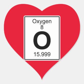 O - Oxígeno Pegatina En Forma De Corazón