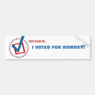 Obama anti que voté por político republicano de Ro Pegatina Para Coche