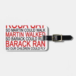 Obama corrió así que nuestros niños pueden volar etiquetas para maletas