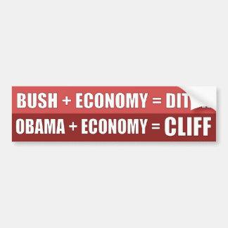 Obama + Economía = ACANTILADO Pegatina Para Coche
