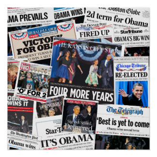 Obama gana el collage 2012 del periódico de Front  Póster