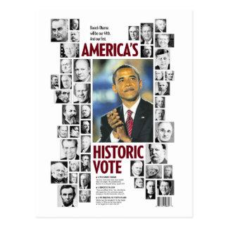 Obama: Postal histórica del voto de América