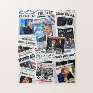 Obama reeligió rompecabezas del collage del periód