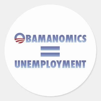 Obamanomics iguala el desempleo pegatina redonda