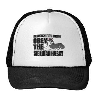 Obedezca el husky siberiano gorras de camionero