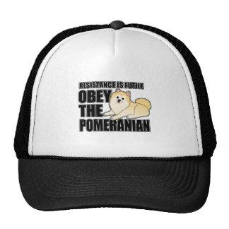 Obedezca el Pomeranian Gorras De Camionero