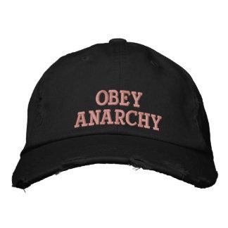Obedezca la anarquía gorra de beisbol bordada