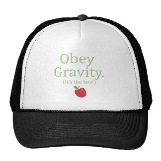 ¡obedezca la gravedad que es la ley! gorros