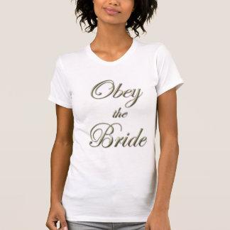 Obedezca las camisetas sin mangas de la novia