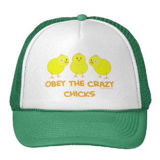Obedezca los polluelos locos gorras de camionero