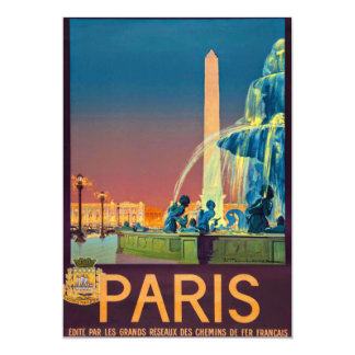 Obelisco de la fuente de París Francia Invitación 12,7 X 17,8 Cm