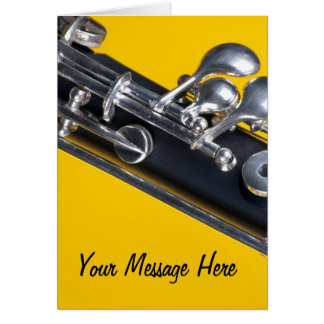 Oboe en fondo amarillo tarjeta de felicitación