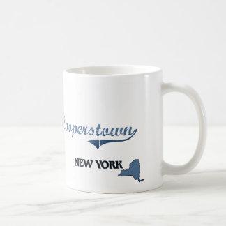 Obra clásica de Cooperstown New York City Taza Básica Blanca