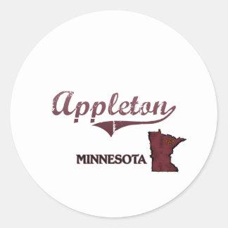 Obra clásica de la ciudad de Appleton Minnesota Etiquetas Redondas