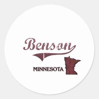 Obra clásica de la ciudad de Benson Minnesota Pegatina Redonda