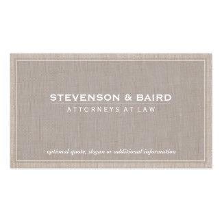 Obra clásica elegante de la textura de lino de la tarjetas de negocios
