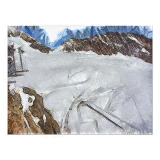 Observando el glaciar extenso debajo impresiones fotográficas