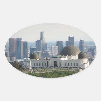Observatorio de Griffith y Los Ángeles céntrico Pegatina Ovalada