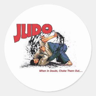 Obstrucción del judo hacia fuera pegatina redonda