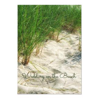 Océano, arena casual de la hierba de la playa y invitación 12,7 x 17,8 cm