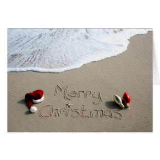 Océano de la arena de la playa del día de fiesta tarjeta de felicitación