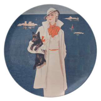 Océano del perro de señora In White Scotty Terrier Plato De Cena