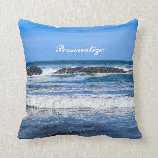 Océano Pacífico azul con nombre Cojín Decorativo