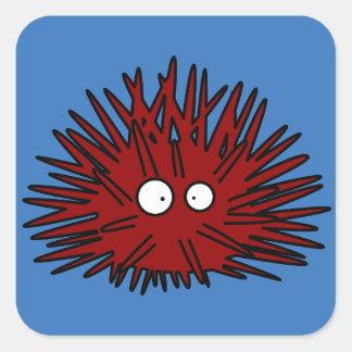 Océano rojo Uni espinoso del erizo del erizo de Pegatina Cuadrada
