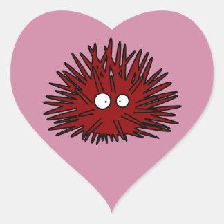 Océano rojo Uni espinoso del erizo del erizo de Pegatina En Forma De Corazón