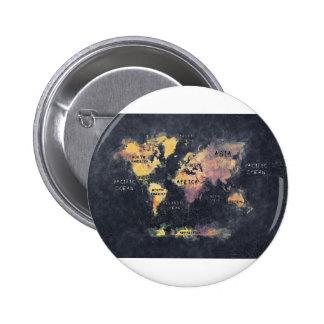 OCÉANOS y continentes del mapa del mundo Chapa Redonda De 5 Cm