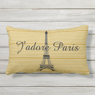 Ocre amarillo de J'adore París de la torre Eiffel Cojín De Exterior